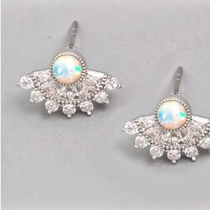 Jewelry - NEW! Iridescent Stud Cubic Zirconia Fan Earrings